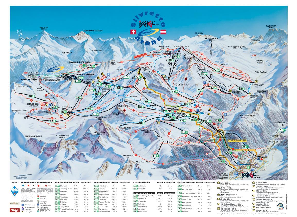 Afbeelding: Plattegrond van het skigebied van Ischgl