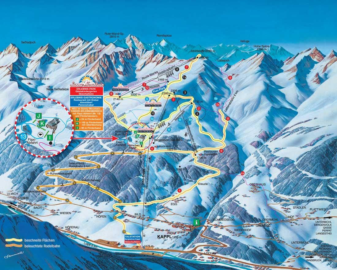 Plattegrond Skigebied Kappl